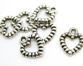 Charms : 10 pieces Antique Silver Heart Charms | Silver Textured Heart Pendants ... Lead, Nickel & Cadmium Free H4G