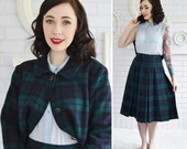 RESERVED   Vintage Dark Blue and Green Plaid Wool Jacket and Skirt Set by Pendleton Size Small
