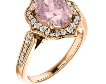Morganite Ring Diamond Halo Morganite Engagement Ring In 14k Roes gold, 9x7mm gemstone - ST82998