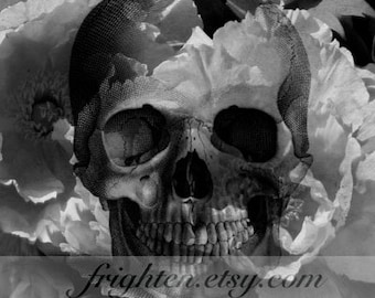 Black and White Noir Human Skull and Flowers Photography Print, Halloween Decoration Art Party Decor