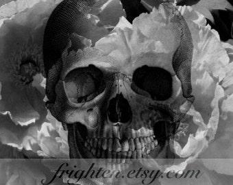 Skull Art Print, Mixed Media Art, Halloween Wall Art, Black and White Art, Dark Art Print, 8x10 Print, Creepy Art