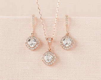 Rose Gold Bridal Jewelry SET, Cushion Cut Crystals, Bridesmaid jewelry, Solitaire Crystal pendant, Bridal Earrings,  Leena Bridal SET