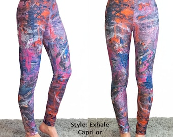 Exhale Leggings - Yoga Workout Wear Colorful Original Painting