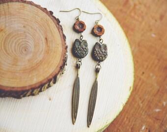 boho floral owl earrings.