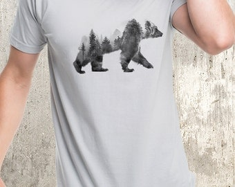 Men's Double Exposure Bear T-Shirt - Bear and Forest - Men's Screen Printed American Apparel T-Shirt