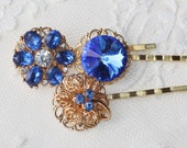 Vintage Sapphire Royal Blue Jeweled Bridal Bobby Pins,Hair Pin Trio,Sapphire Montana Blue,Vintage Repurposed Rhinestone Earrings,Reclaimed