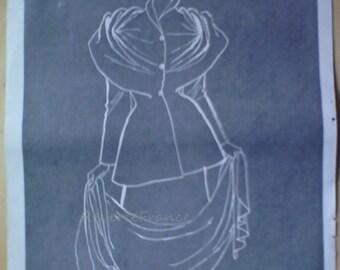 Original Vintage French Fashion Ad Dress Drape Châle for Mad Carpentier1949  Rene Gruau