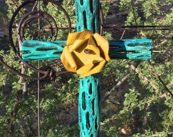 Cholla Wood Cross - Sacred works of the High Desert - Yellow Metal Rose - Santa Fe - Original Art / Cathy DeLeRee