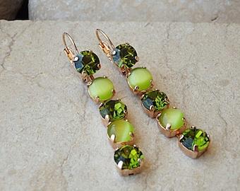 Green swarovski earrings. Peridot swarovski crystal dangle earrings, Rose gold plated earrings, Long crystal earrings, Green halo earrings