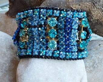 Something Blue For Bridal, Swarovski blue bracelet, Estate Bracelet,  Handmade Bracelet, Beaded Bracelet, Crochet Bracelet, Prom Jewelry