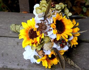 Brooch Bouquet Vintage Wedding Camo Green Sunflower Bridal Bouquet, Deposit only