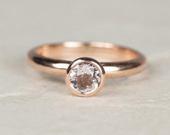 Rose Gold Ring - Alternative Engagement Ring - Morganite Ring - Rose Gold - Solitaire Ring -Engagement Ring - Unique Engagement Ring