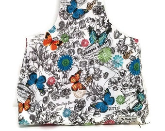 Large French Paris Birds and Butterflies Leaves Flowers Yarn Bag Project Tote S156