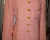 PARIS Pink Jacket, VERTIGO, Iridescent Boucle, Semi- Fitted, Fashionista, SZ 12, Vintage New 80's