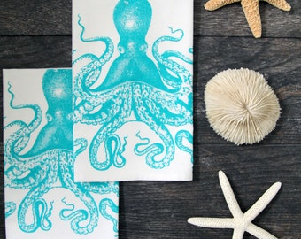 Cotton Napkin Set of 4- Screen Printed Octopus - Blue