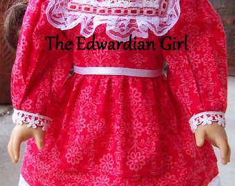 Two of a kind Edwardian red dress, vintage lace, Victorian. Fits 18 inch play dolls such as American Girl, Springfield, OG Made in USA