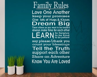 Family Rules Decal - Vinyl Wall Decal Family Rules - Vinyl Family Rules Wall Decal - Family Vinyl Decals - Rules Wall Decal - Family Decal
