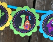 Birthday Banner, Personalized Word Banner,  Monster Bash, Baby Shower Banner, Monster Banner, Birthday Banner, 1st Birthday, Monster Party