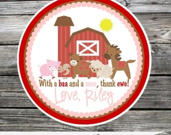 Farm Favor Tags, Red and Pink Farm Stickers, Farm Birthday, Personalized Labels, Farm Animals, 1st Birthday, Baby Shower, Barnyard Party