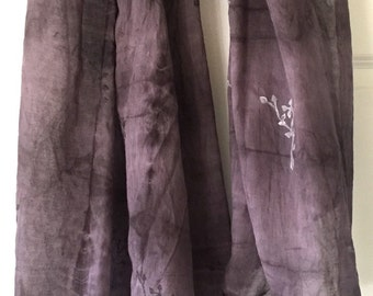 Extra large cotton shibori dyed cotton scarf, soft cotton hand dyed in black and grey with a tint of purple, large scarf, cotton wrap, shawl