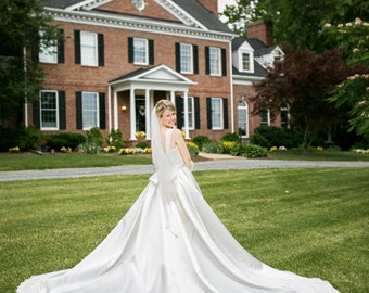 Amazing Train Fairytale Wedding Dress, Lace and Satin Ballgown - Ashley Style