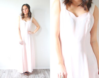 Vintage light pink gown // crystal beaded straps // bow detail // pink prom dress // pink gown // Maxi dress // party dress // fancy gown