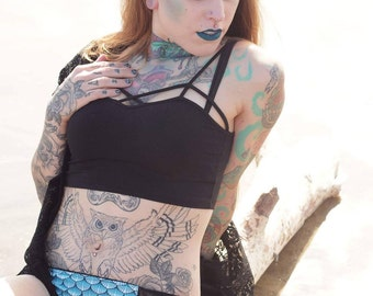 The Medea Panty with Arctic Sea Witch Print and Mesh Panels