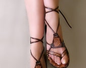 10 % off Brown Burnished Leather Lace Up Handmade Flat Sandals With Design - Fantasy II