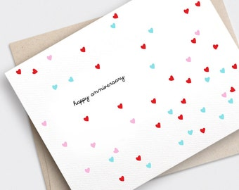 Happy Valentines Day Card, Anniversary Card - Confetti Hearts, Red, Pink, Pastel Teal Green - Recycled Card, Happy Anniversary