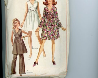 1968 Simplicity Wrap Dress Mini Dress or Tunic with Pants, Sleeveless or Bell Sleeves Sewing Pattern 8033, Size 14, Bust 36