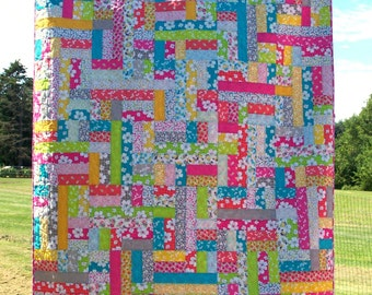 Ready to Ship, Twin Quilt, Modern, Patchwork, Scrappy, Quilts For Sale, Bed quilt, Coverlet,Girl Quilt, Handmade, Blanket, Busy Hands Quilts