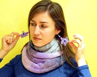 White, grey, violet, purple knitted snood scarf neckwarmer with flowery earrings from mohair yarn