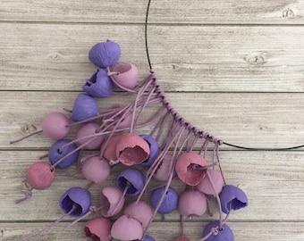 Flower Garden necklace Flower jewelry  Handmade polymer jewelry Flower buds necklace Statement necklace  Beadwork Purple flower buds