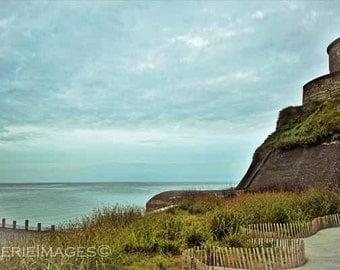 Tower and Sea, Normandy France Coast Photo Tour Vauban, 12 x 18 or 8x10 Color