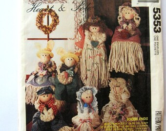 1990s Mop Doll Pattern, McCalls 5353, Baby Mop Doll, Country Girl & Boy Dolls, Boy and Girl Bunny Dolls, Angel Doll, Bride Doll, UNCUT