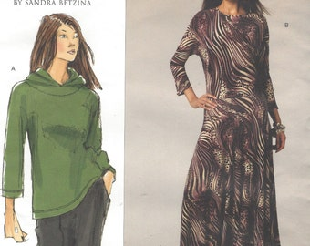 Sandra Betzina Womens Lagenlook Top & Dress Vogue Sewing Pattern V1071 Size 10 12 14 16 18 20 22 24 26 28 Bust 32 to 55 UnCut
