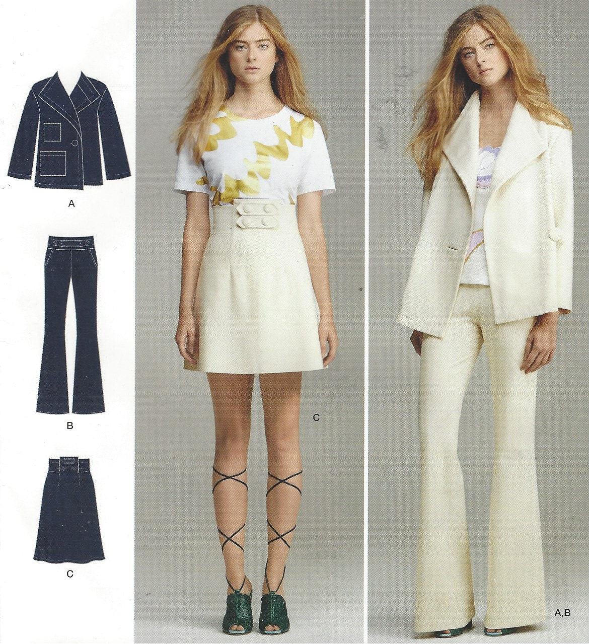 Cynthia Rowley Sewing Patterns: Cynthia Rowley Womens Jacket, High Waist Skirt And Knit