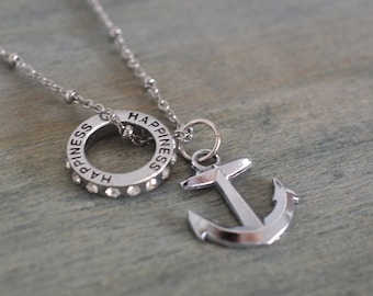 silver anchor necklace, happiness, nautical, navy necklace, navy mom gift, best friend, bridesmaid, wedding, anchor you, anchor happiness