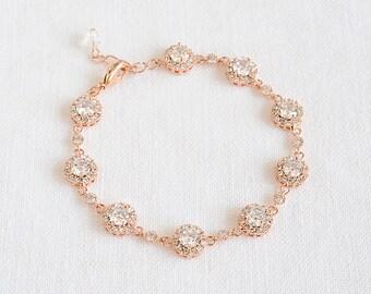 Wedding Bracelet, Bridal Crystal Bracelet, Round Halo Bridal Bracelet, Vintage Style Wedding Bridal Jewelry,Tennis Bracelet,Rose Gold, SARAH