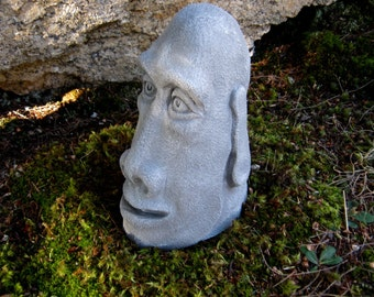 Easter Island Head, Concrete Rock Face, Moai Statue, Cement Tiki Figure, Garden Face, Concrete Statues, Garden Art, Easter Island Face