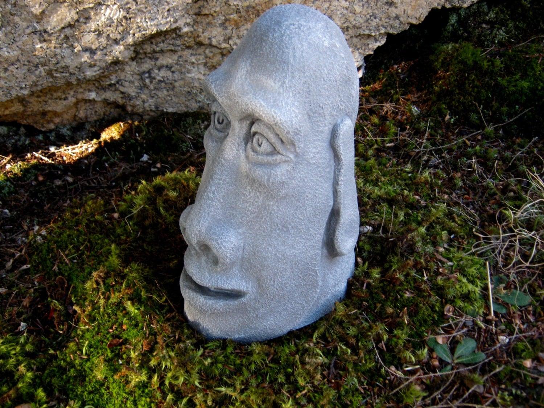 Easter Island Head Concrete Rock Face Moai Statue Cement