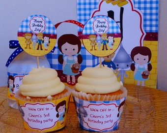 Wizard of oz cupcake topper, Wizard of Oz cupcake wrapper,  Wizard of Oz party, Wizard of Oz Stickers, Wizard of Oz tags , Set of 24.