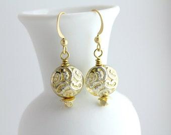 Gold Earrings, Boho Gold Earrings, Modern Gold Earrings, Gold Dangle Earrings, Gold Drop Earrings, Glass Earrings, Glass Dangle Earrings