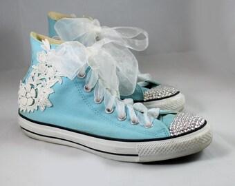 Crystal Converses--Bridal Converse -- Swarovski Converse - Crystal Converse - Lace Converse
