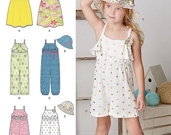 Simplicity Pattern S0899/8100 Girls' Jumsuits, Rompers, Dresses and Hats Sizes 3-8 NEW