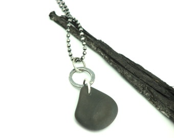 Beach Stone Natural Jewelry River Stone Pebble Necklace  Organic Earthy Jewelry