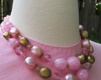 Vintage 60s Two Strand Pink and Gold 1960s Tiered Beaded Bib Choker Statement Necklace with Fish Hook Clasp