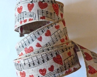 Music Ribbon, Red hearts, Linen Style, Sheet Music Ribbon, Glitter Hearts, Linen Style, Musical Notes, 2 YARDS, 1.5 wide, Love, Engagement