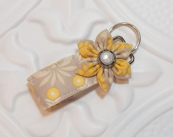 Key Chain - Key Fob - Fabric Key Chain - Taupe Gold And Cream