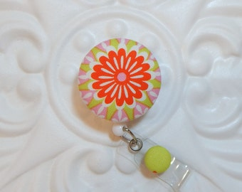 Retractable Badge Holder - Id Badge Reel - Button Badge Holder - Pink Green Orange